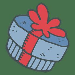 Karikatur-Ikone 52 der blauen Bogenhand der blauen Geschenkbox rote gezeichnete