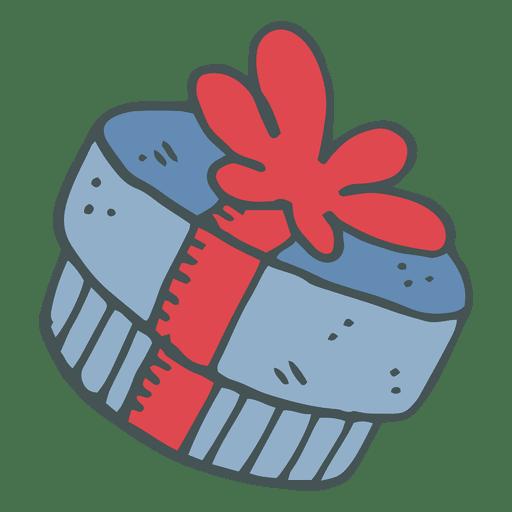 Caja De Regalo Azul Arco Rojo Dibujado A Mano Icono De Dibujos