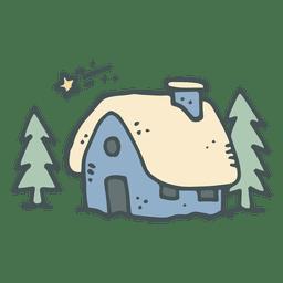 Casa de campo azul cubierto de nieve dibujado a mano icono de dibujos animados 49