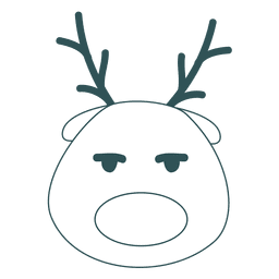 Bored reindeer face green stroke emoticon 49