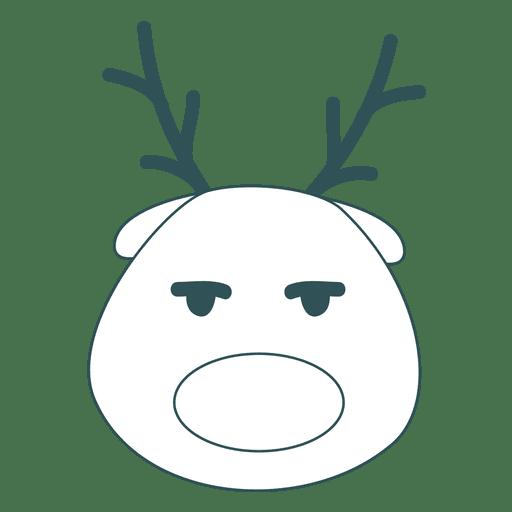 Bored reindeer face green stroke emoticon 49