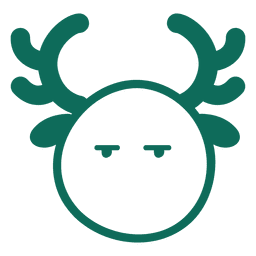 Bored reindeer face green stroke emoticon 16