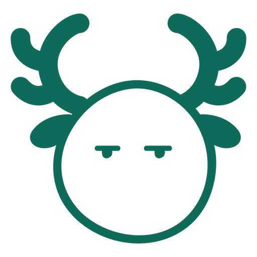 Bored reindeer face green stroke emoticon 16