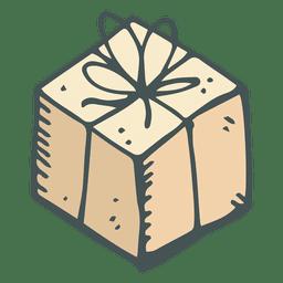 Mão de caixa de presente marrom desenhado ícone dos desenhos animados 22