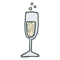 Champagne flute hand drawn cartoon icon 50
