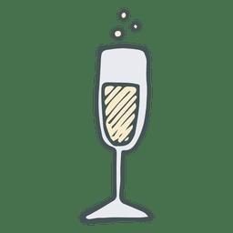 Icono de dibujos animados dibujados mano flauta de champán 50