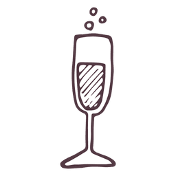 Champagne flute hand drawn icon 38