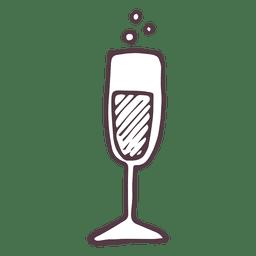 Mão de flauta de champagne desenhado ícone 38