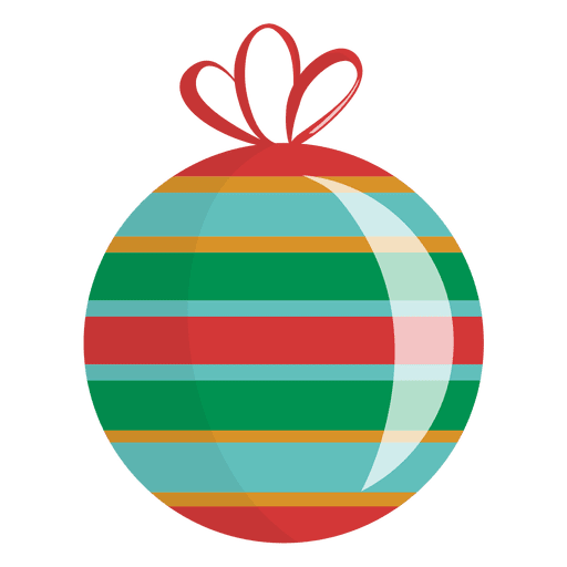 Glossy Striped Christmas Ornament Transparent PNG