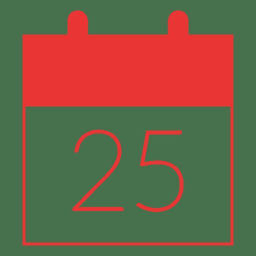 Icono plano del calendario del día de Navidad rojo 11