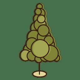 Icono de dibujos animados de círculos de árboles de Navidad 1