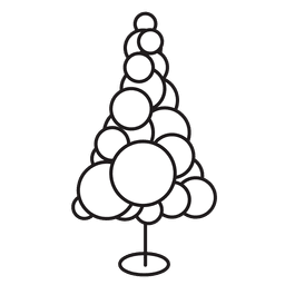 Christmas tree circles stroke icon 20