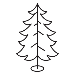 Christmas tree curled branches stroke icon 30