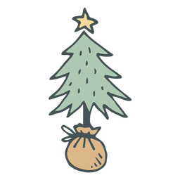 Christmas tree hand drawn cartoon icon 2