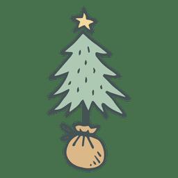 Mão de árvore de Natal desenhada ícone dos desenhos animados 2