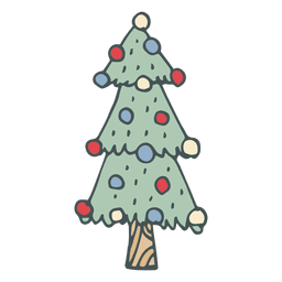 Christmas tree hand drawn cartoon icon 46