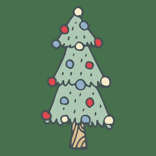 icono de dibujos animados dibujados a mano el rbol de navidad 46