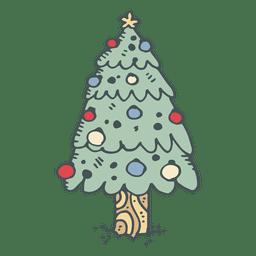 Icono de dibujos animados dibujados a mano de árbol de Navidad 5