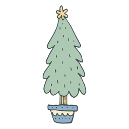 Christmas tree hand drawn cartoon icon 54