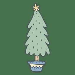 Ícone de desenho animado de árvore de Natal mão desenhada 54