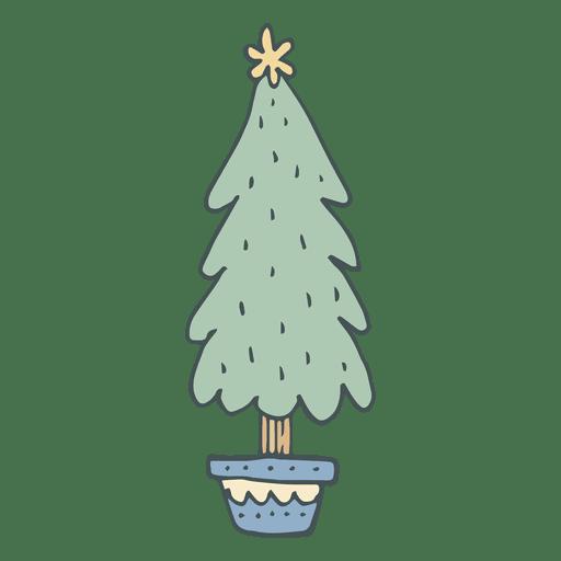 Ícone de desenho animado de árvore de Natal mão desenhada 54 Transparent PNG