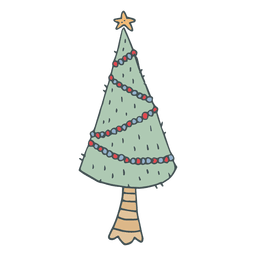 Christmas tree hand drawn cartoon icon 7