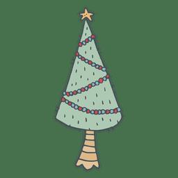 Ícone de desenho animado de árvore de Natal mão desenhada 7