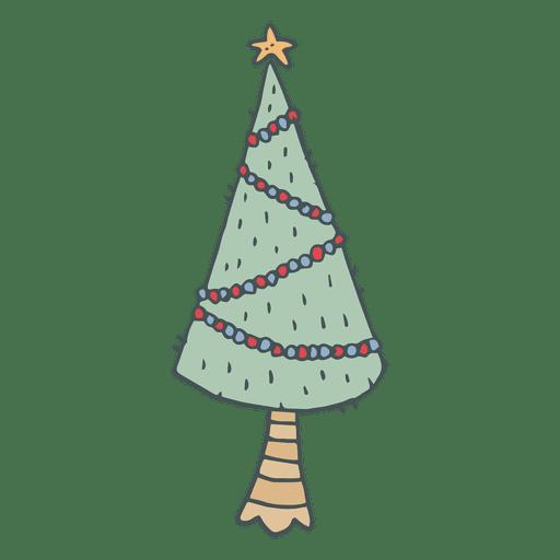 icono de dibujos animados dibujados a mano el rbol de navidad 7