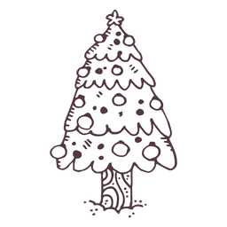 Christmas tree hand drawn icon 17