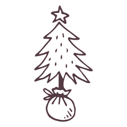 Christmas tree hand drawn icon 2