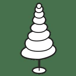 Ícone de traço oval de árvore de Natal 27