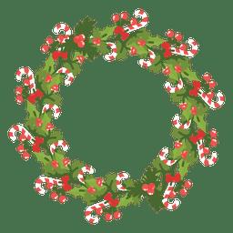 Icono de la Navidad bastones de caramelo corona de 14