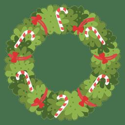 Weihnachtskranz-Zuckerstangen rot beugt Ikone 4