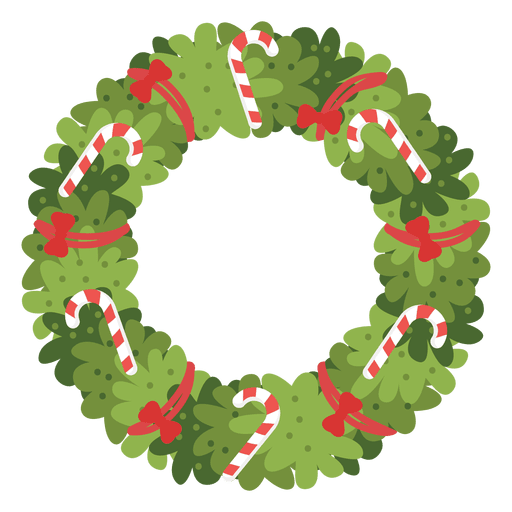 Christmas wreath candy canes red bows icon 4 Transparent PNG