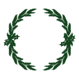 Christmas wreath green silhouette icon 7