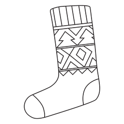 Christmas stocking stroke hand drawn icon 4