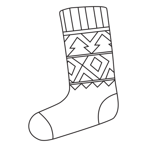 Christmas Stocking Line Drawing.Christmas Stocking Stroke Hand Drawn Icon 4 Transparent