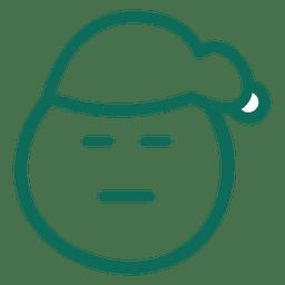 Cerrar ojo santa claus sombrero cara verde trazo emoticon 6