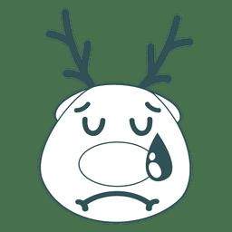 Cara de renas de choro emoticon de traço verde 44