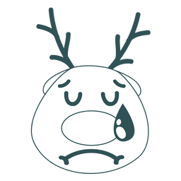 Cry reindeer face green stroke emoticon 44