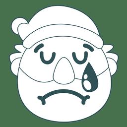 Cry santa claus green stroke emoticon 37
