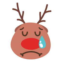 Crying reindeer face emoticon 56