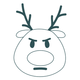 Frown reindeer face green stroke emoticon 46