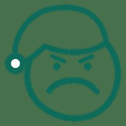 Cara de chapéu de Papai Noel carranca emoticon de traço verde 14