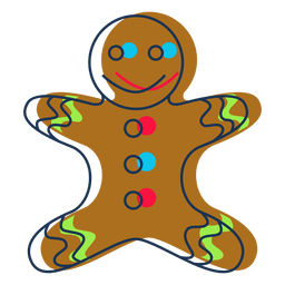 Gingerbread man cartoon icon 42