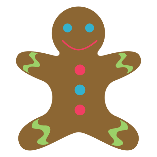 Gingerbread man flat icon 63