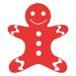 Gingerbread man flat icon red 07