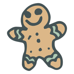 Gingerbread man hand drawn cartoon icon 33