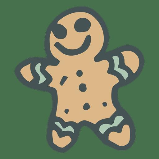 Gingerbread man hand drawn cartoon icon 33