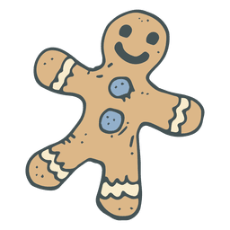 Gingerbread man hand drawn cartoon icon 48